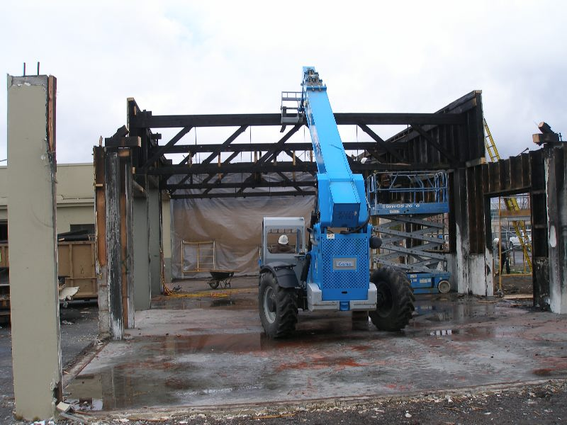 Commercial Fire Demo Roof and Wall Removed